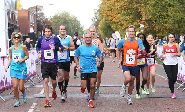Emily Maitlis, Miss United Kingdom Kirsty Rose, Sophie Raworth, Ben Fogle, Andy Goldstein and Katie Piper at the Royal Parks Foundation half marathon in 2014
