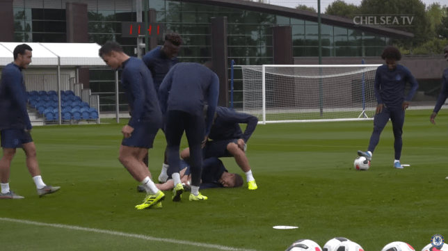 Chelsea stars drop their shorts and 'sit' on Jorginho during bizarre training session