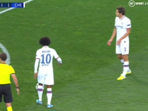 Willian and Marcos Alonso row over free-kick during Chelsea's Champions League clash against Lille