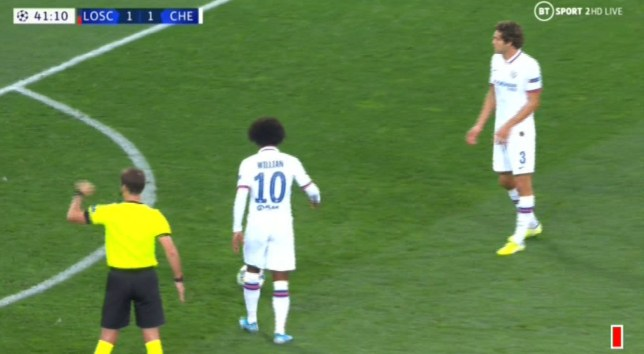 Willian and Marcos Alonso had a disagreement over a free-kick for Chelsea