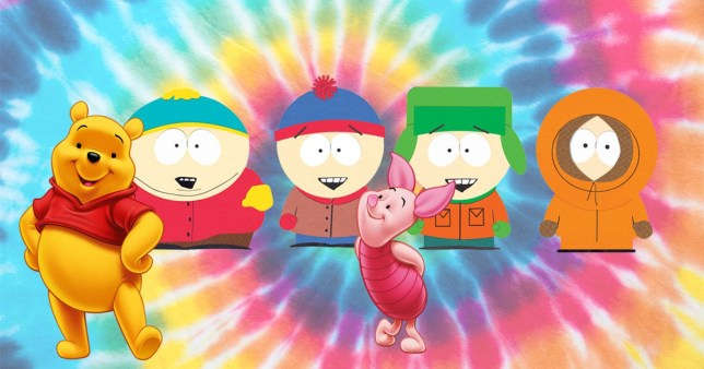 South Park cast and Winnie the Pooh and Piglet