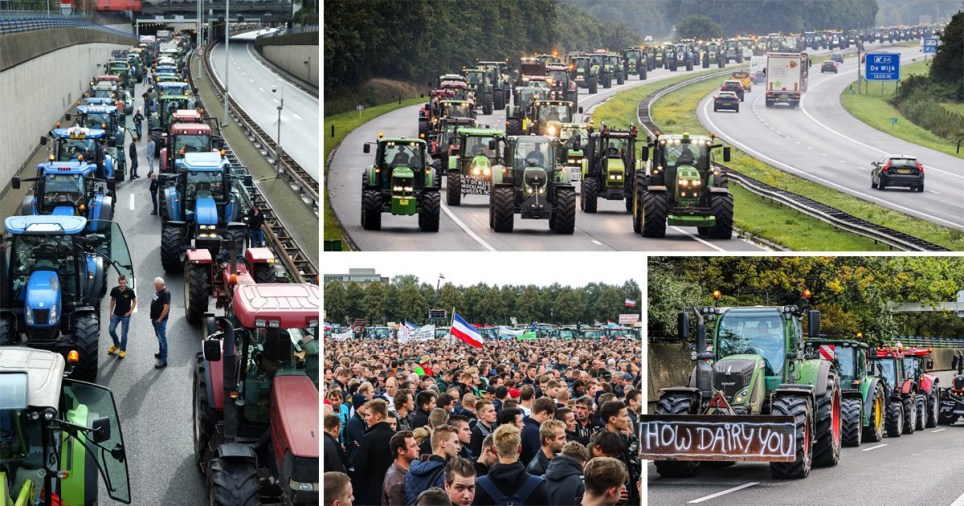The tractor protest caused record traffic jams (Picture: EPA)