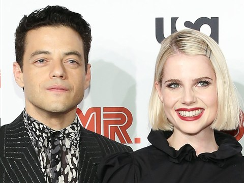 Rami Malek supported by girlfriend Lucy Boynton at Mr Robot premiere