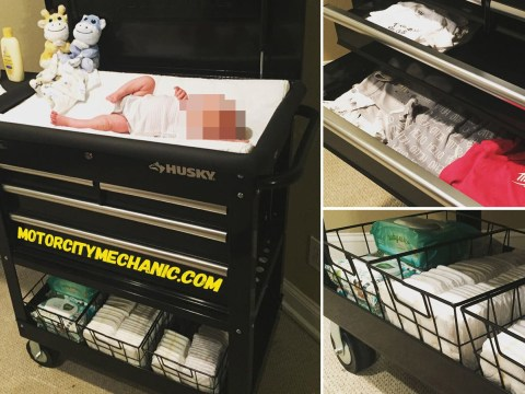 Dad turns toolbox trolley into a nappy changing station for his twins