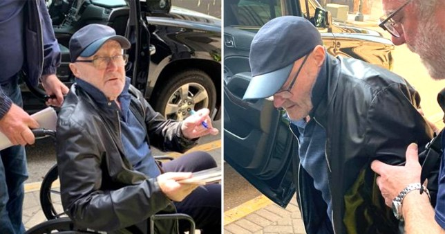 Phil Collins pictured in wheelchair before falling over on-stage on Not Dead Yet Tour