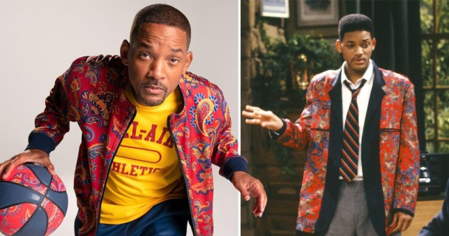 Will Smith in the 90s and now wearing a similar red patterned jacket