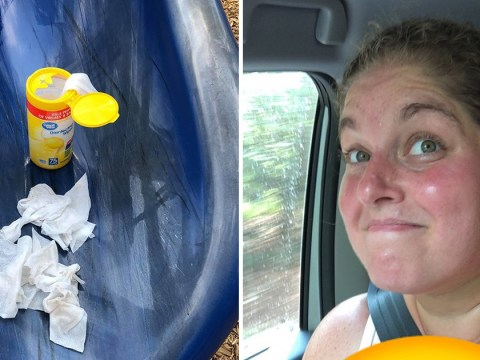 Mum mortified as naked toddler goes down slide, covering everything in poo