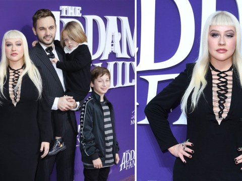 Christina Aguilera gives Morticia Addams a run for her money at The Addams Family premiere