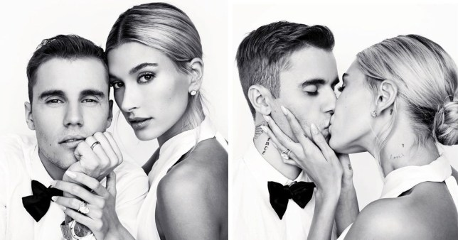 Justin and Hailey Bieber on their wedding day