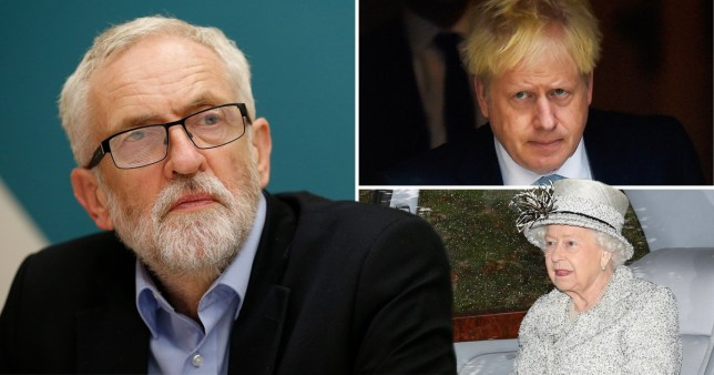 Boris Johnson, Jeremy Corbyn, Queen