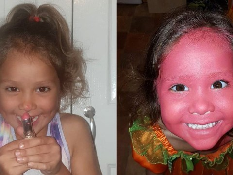Mum turns her back and finds four-year-old has smeared lipstick all over her face