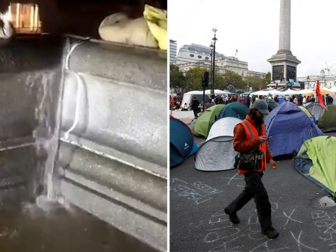 Overflowing Trafalgar Square fountain threatens to flood out protesters