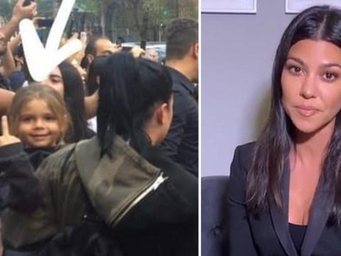 Kourtney Kardashian's cheeky son Reign, 4, flips the bird at cameras in Armenia