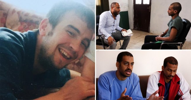 Picture of British aid worker David Haines and shots of ISIS Beatles members El Shafee Elsheikh and Alexanda Kotey being interviewed by ITV