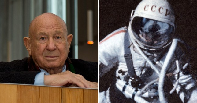 Picture of Alexi Leonov as older man and picture of him performing very first spacewalk in 1965