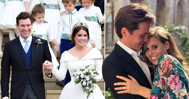 A picture from the wedding of Princess Eugenie and Jack Brooksbank next to an engagement photo of Princess Beatrice and Edoardo Mapelli Mozzi