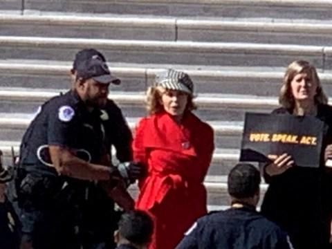 Jane Fonda arrested in Washington DC amid climate change protest