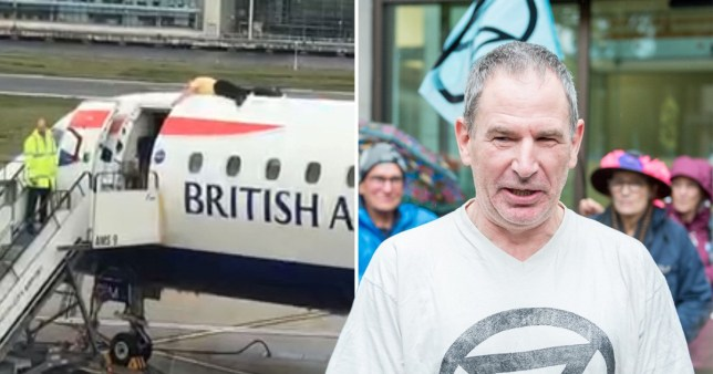 James Brown is alleged to have climbed on top of a BA plane and glued himself to it at London City Airport.