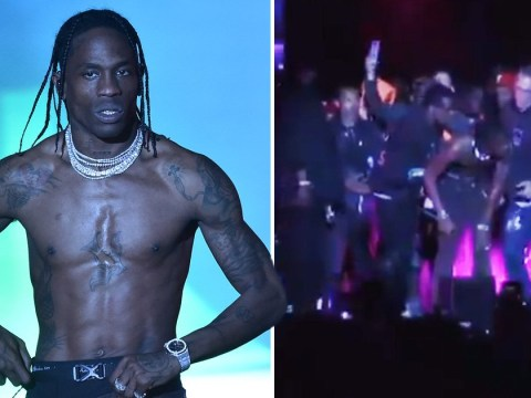 Travis Scott 'breaks his knee' at Rolling Loud festival but refuses to stop the show after nasty fall