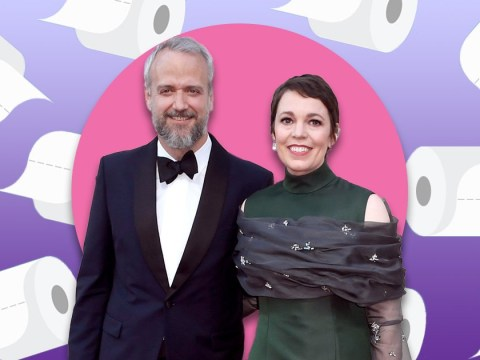 Olivia Colman flushes pink as she admits her husband stole a roll of toilet paper from Buckingham Palace