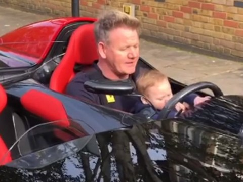 It doesn't get much cuter than Gordon Ramsay's 6-month-old son Oscar behind the wheel of £1.5million Ferrari
