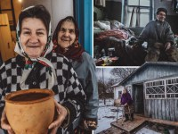 Composite shot of families living in Chernobyl