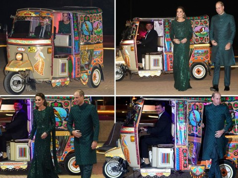 Prince William and Kate Middleton whizz to Pakistan reception in colourful tuk tuk
