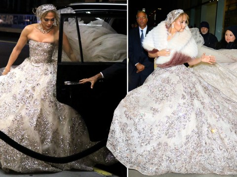 Jennifer Lopez gets some bridal practice in ahead of marrying Alex Rodriguez in extravagant wedding dress