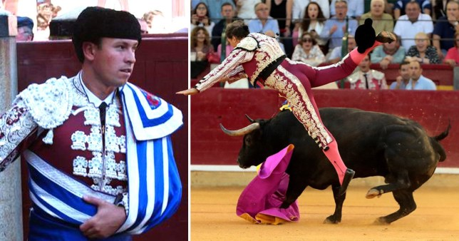 A Bullfighter nearly died after being gored at a show in Zaragoza, Spain
