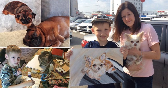 Nine year old boy with paintings of animals