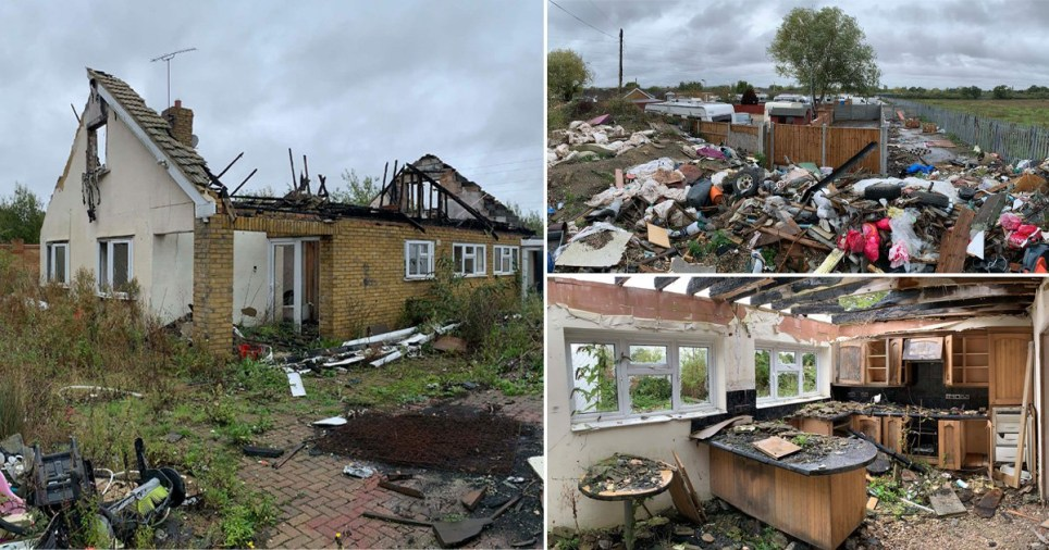 Litterers have turned the remains of the infamous Dale Farm traveller camp into a '£7,000,000 fly-tip' eight years after its violent clearing