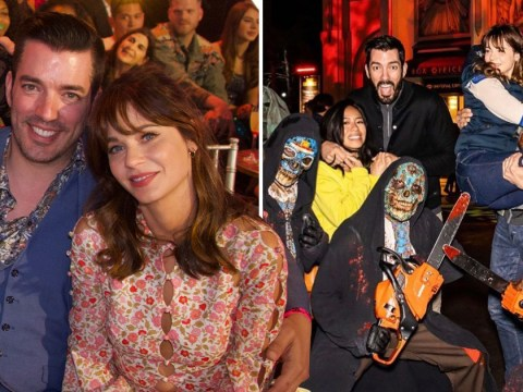 Zooey Deschanel looks loved up with Property Brothers' Jonathan Scott as they enjoy Halloween date night