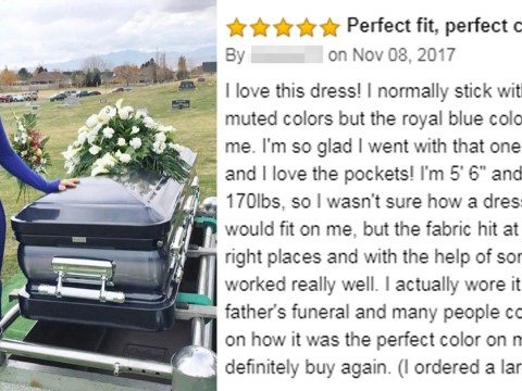 Woman confuses shoppers by posing with coffin in Amazon dress review