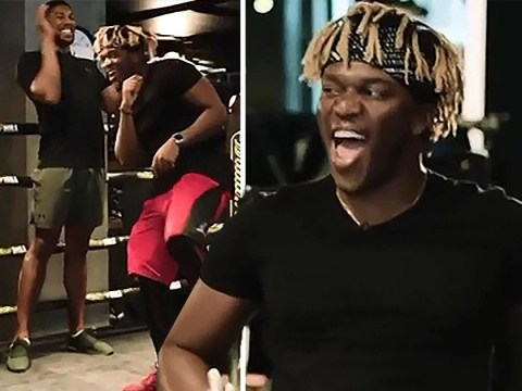 KSI shows off boxing moves as he trains with Anthony Joshua ahead of Logan Paul rematch