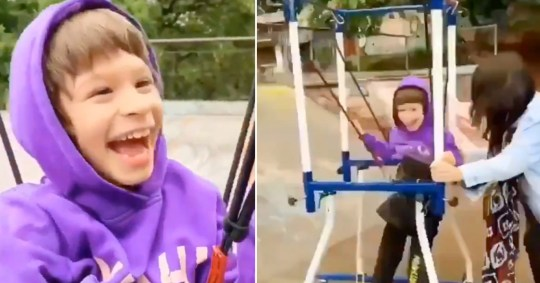Little boy with cerebral palsy gets to try skateboarding for the first time after mum builds special frame