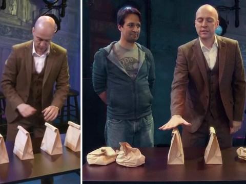 Hamilton's Lin-Manuel Miranda learns heart-in-mouth magic trick from Derren Brown