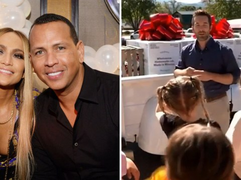 Jennifer Lopez and fiance Alex Rodriguez donate a year's supply of food to students in need