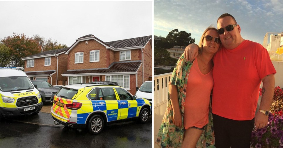 Joanna Maher and haulage firm boss Thomas Maher, 38, next to picture of police raiding their home in Warrington, Cheshire