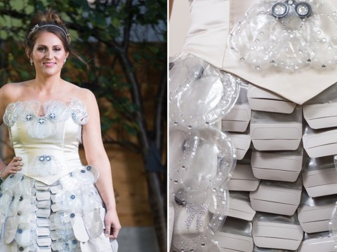 Woman creates amazing wedding dress out of colostomy bags to raise awareness of bowel cancer