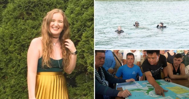 Picture of missing backpacker Amelia Bambridge and pictures of search team looking for her in Cambodia