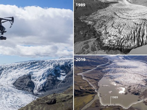 Shocking drone pictures reveal just how much glaciers are shrinking because of climate change