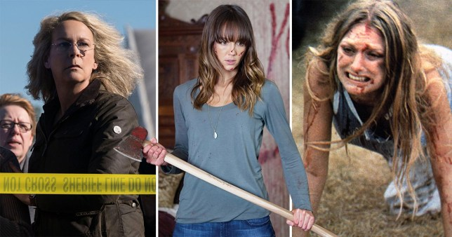 Horror movie final girls - Halloween's Laurie Strode, You're Next's Erin, Texas Chain Saw Massacre's Sally