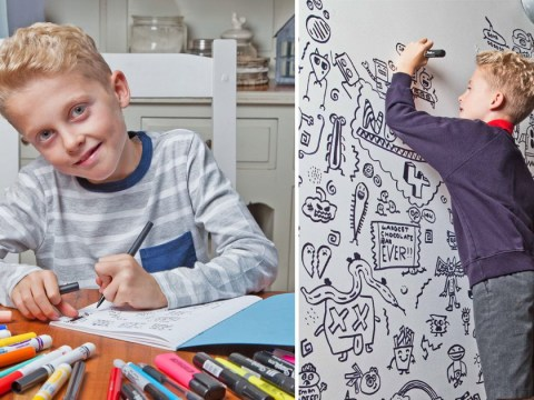 Nine-year-old boy told not to doodle in class lands job decorating restaurant with his drawings