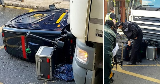 Two pictures of pensioner's mobility scooter knocked over by an HGV in Boston, Lincolnshire