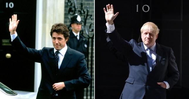 Hugh Grant in Love Actually and Boris Johnson