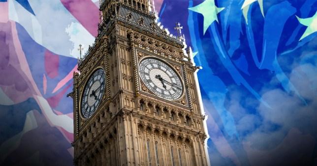 Big Ben with Union Jack and EU flag backdrop