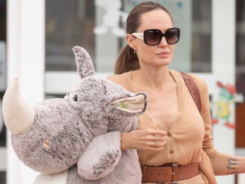 Angelina Jolie wrangles a giant rhino stuffed toy like it's no big deal on break from filming Marvel's Eternals