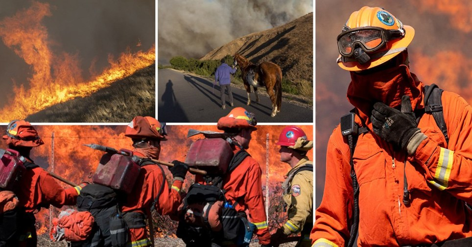 A huge Wildfire puts the iconic Ronald Reagan Presidential Library at risk of destruction (Picture: Getty/ AFP)
