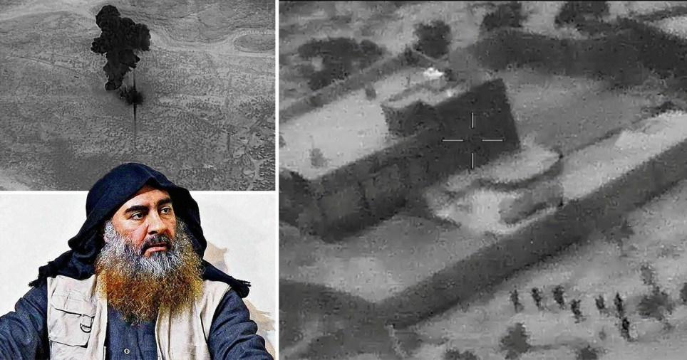 The first government photos of the night-time raid show commandos approaching the walls of al-Baghdadi's compound before it is bombed (Picture: AFP)