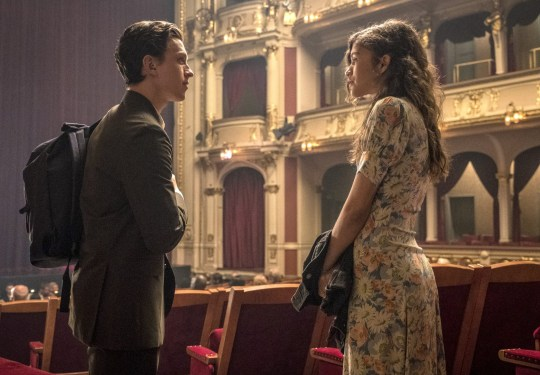 Editorial use only. No book cover usage. Mandatory Credit: Photo by J Maidment/Columbia/Marvel/Kobal/REX/Shutterstock (10328602j) Tom Holland as Peter Parker/Spider-Man and Zendaya as MJ 'Spider-Man: Far from Home' Film - 2019 Following the events of Avengers: Endgame (2019), Spider-Man must step up to take on new threats in a world that has changed forever.